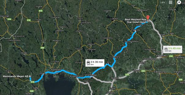 Lämpliga vägar mellan Wermlandsmejeri och Avesta