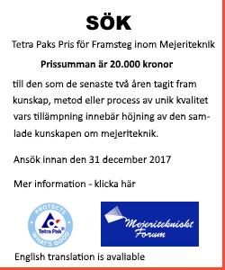 Tetra Paks Pris för Framsteg inom Mejeriteknik